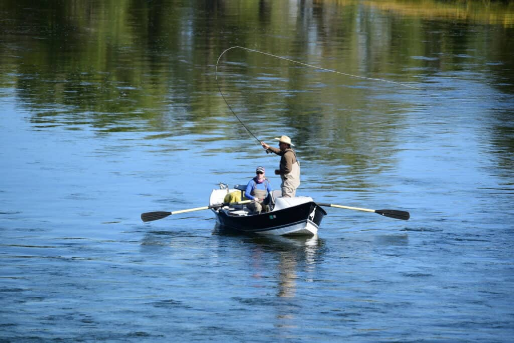 Fly fishing from a boat.